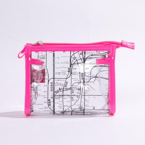 [ニューヨークシティー サブウェイ ライン]クリアコスメケース ピンク