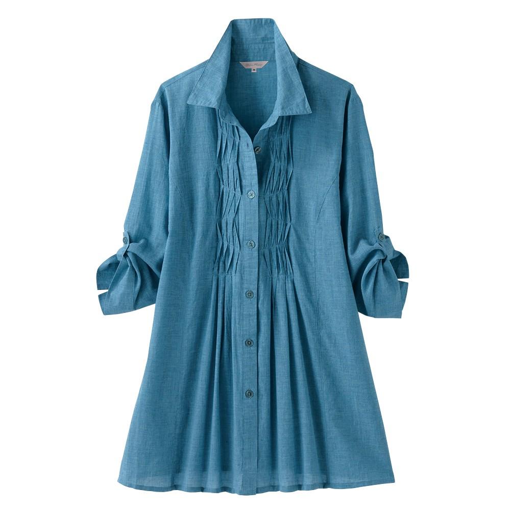 最新2020/5新着!<JALショッピング> ソフトタッチ綿のシャンブレーブラウス ブルー系 3L