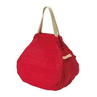[マーナ]コンパクトバッグ「Shupatto」Mサイズ ネイビー 機内・ホテル滞在・便利 レッド