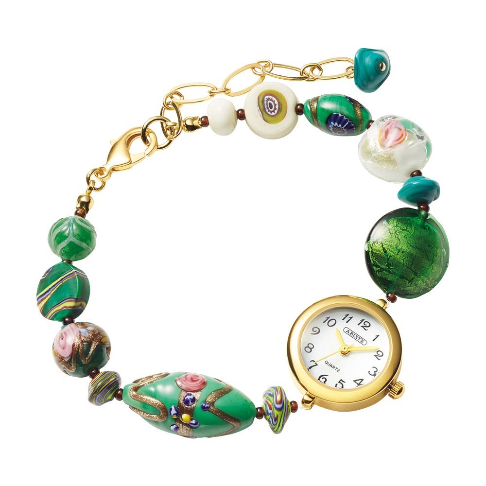 〈SUV工房制作〉イタリア製ヴェネチアンガラスのブレスレット時計