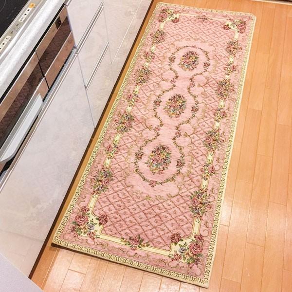 イタリア製ジャカード織マット「ブーケ」(約65x120cm) ピンク