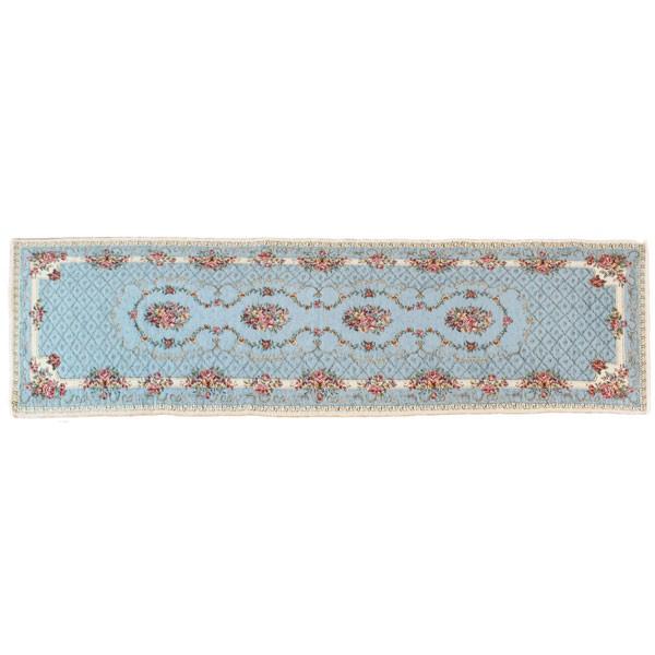 イタリア製ジャカード織マット「ブーケ」(約65x120cm) ライトブルー