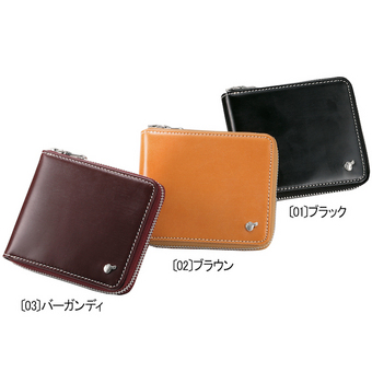 aaf657f59e93 〈ブリティッシュグリーン〉ブライドルレザーラウンドファスナー二つ折財布 ブラック