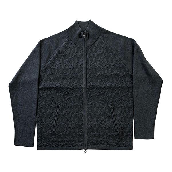 [ジーステージ]千鳥ジャカードジップアップセーター ブラック M(46)