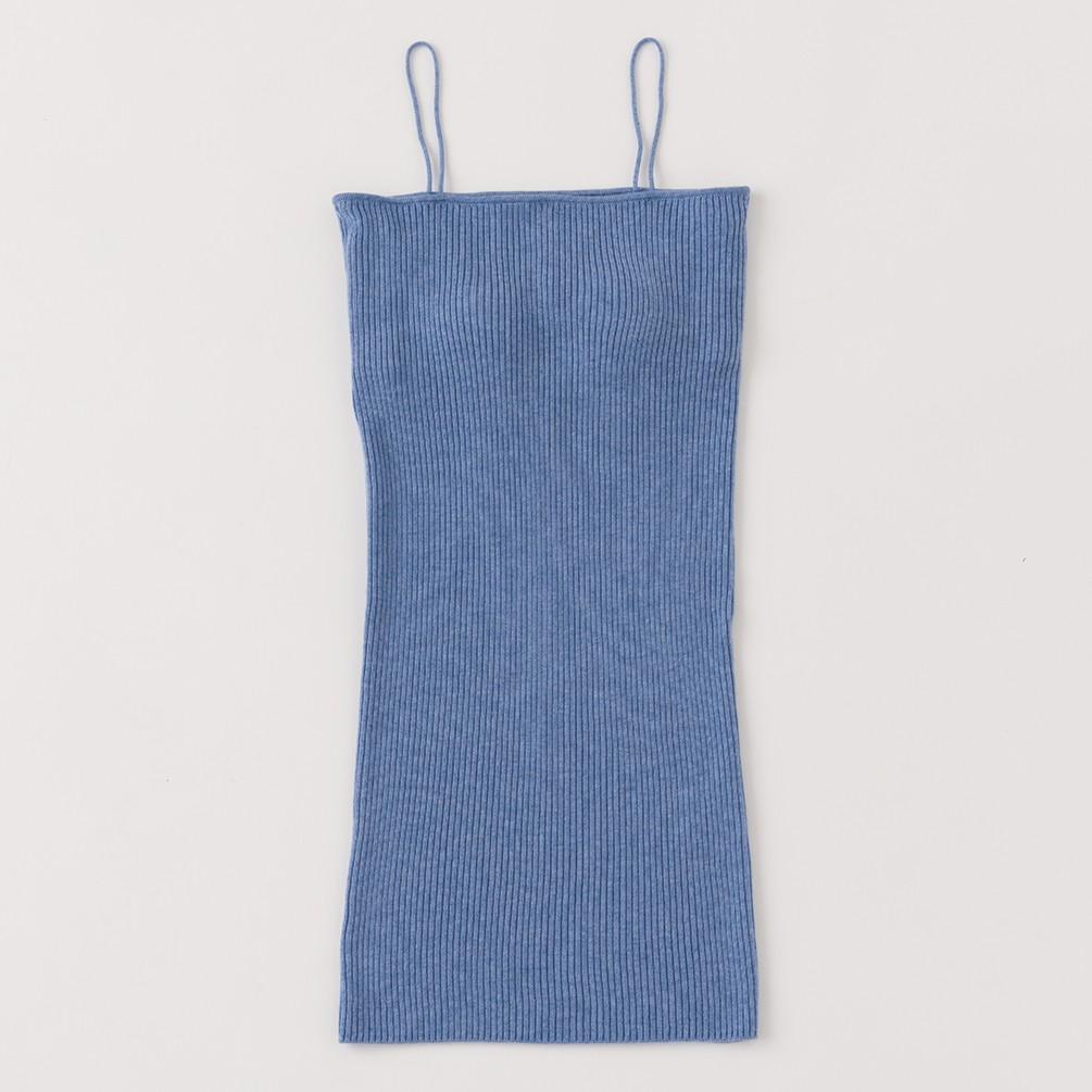 [プライベート・スプーンズ・クラブxJALショッピング]アンゴラミックスリブ カップ付きキャミソールワンピース ブルー