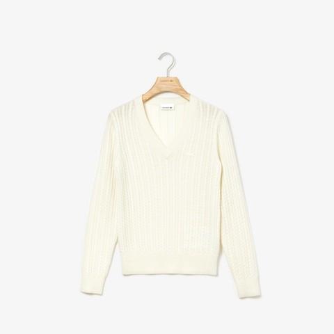 [ラコステ]カシミヤブレンドケーブルニットVネックセーター オフホワイト M(036)