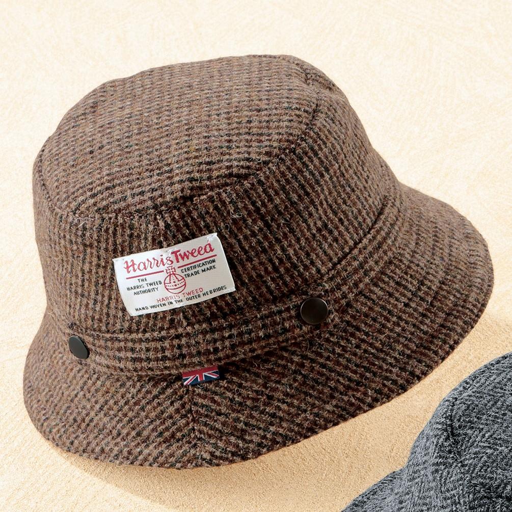 英国製ハリスツイードハット グレー M メンズ ファッション雑貨 ブラウン M