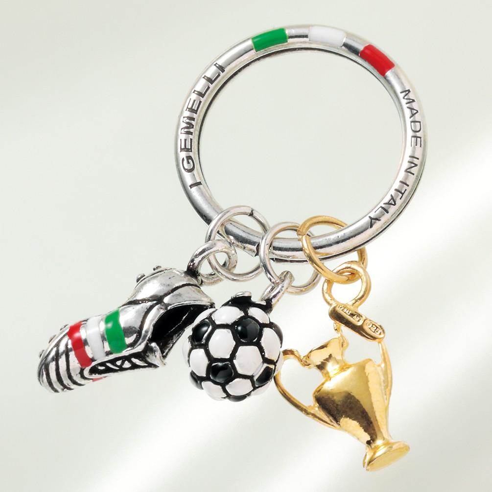 イタリア製シルバーサッカーキーリング