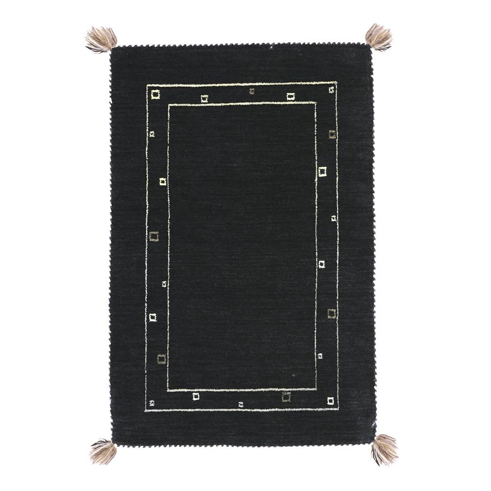 やわらかギャベ ラグ(80x140cm) ブラック