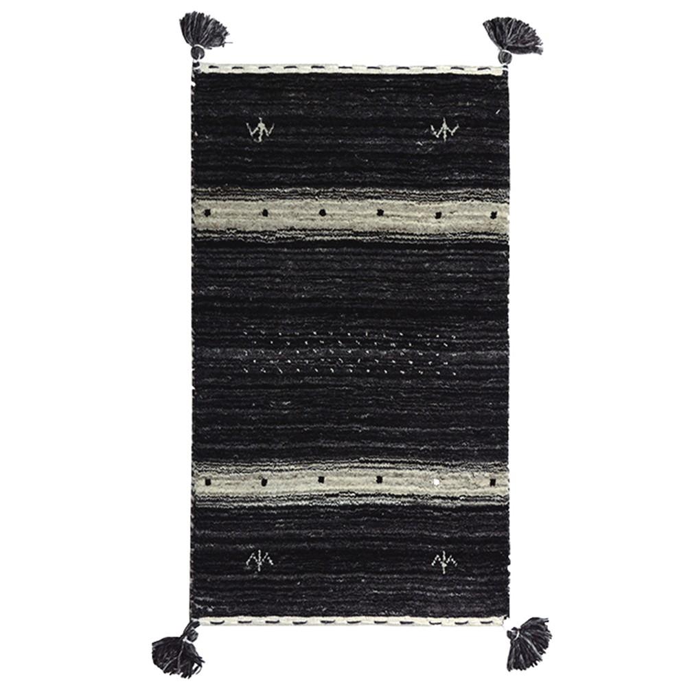 やわらかギャベ ラグ(80x140cm) 無染色ブラック&ホワイト